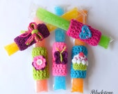 Girly Ice Pop Holders- PDF crochet pattern ONLY - Summer, Popsicles, Classroom Gift, Birthday Party, Party Favors, Popsicle Cozy, Pool Party
