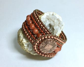 Goldstone and Copper Beaded Leather Cuff