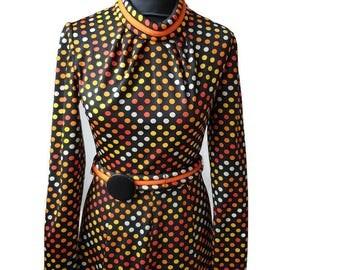 70s Claudie Amos spotty dress, XS vintage retro dress,
