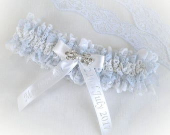 Blue off white / light ivory lace garter Personalized wedding bridal vintage inspired