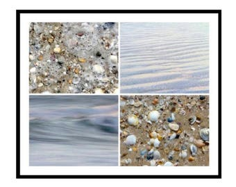 4 Beach Print Set, Seashells and Water Photography, Fine Art Nature Prints