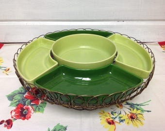 Vintage Lazy Susan turntable with relish dishes