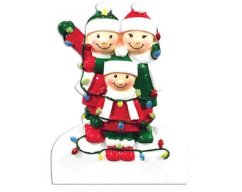 FREE SHIPPING 3 Family Tangled in Lights Family / Personalized Christmas Ornament / Family Ornament