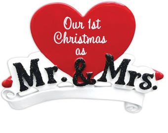 Mr. and Mrs. Personalized Christmas Ornament / Wedding Ornament / Personalized Ornament / First Christmas / Anniversary