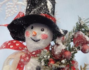 Vintage Style Snowmen Paper Clay/Paper Mache Snowman Christmas Decor