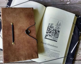 Small book cover, hands free reading book holder, weathered brown, book lover, bibliophile, reader, commuter gift