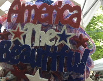 American the Beautiful decomesh wreath