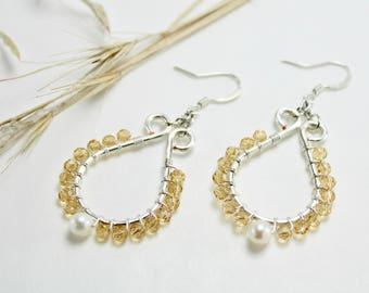 Fresh Water Pearl, Golden Champagne and Silver Teardrop Earrings