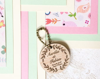 Engraved personalized wooden key holder