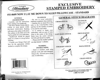 """Herrschners Pillow case embroidery kit"""" Now I Lay Me Down To Sleep"""""""
