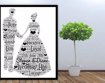 Personalised Word Art Gift Framed Bride and Groom Wedding Anniversary Gift, Keepsake