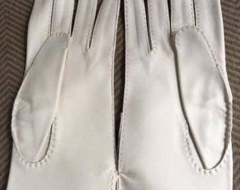 Leather White Gloves
