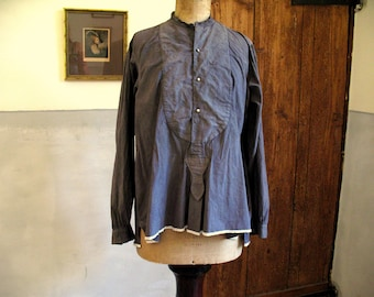 Antique French cotton shirt, dyed washed smokey brown/grey, great condition, 49 euro