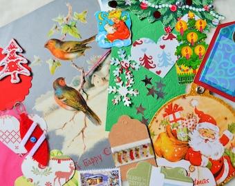 Christmas Ephemera Pack, Snail Mail Kit, Mixed Media, Collage Pack