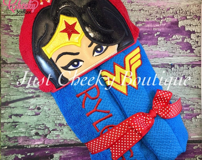 Amazing Woman Inspired Hooded Towel - Wonder Woman - Wonder Woman Birthday - Superhero Birthday - Wonder Woman Birthday - Wonder Woman Party
