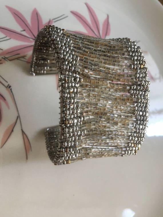 Pretty Silvertone & Crystal Colored Beaded Cuff Bracelet