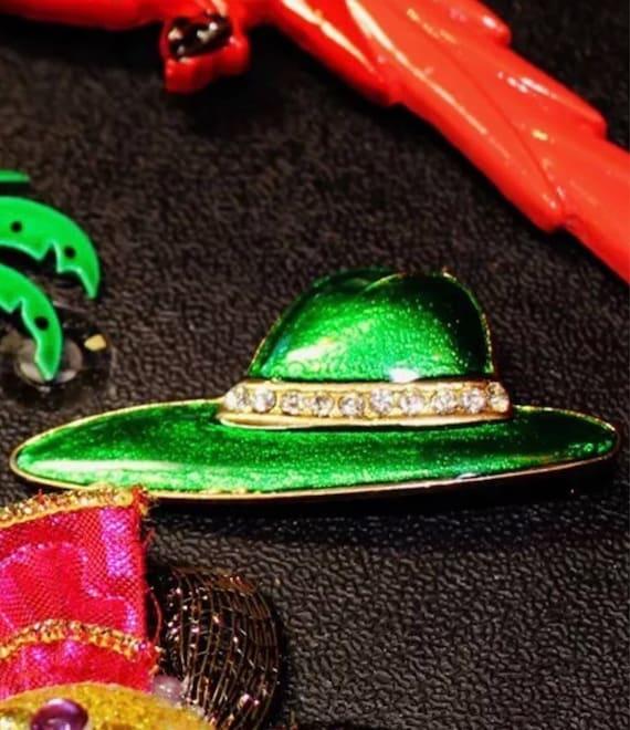 Vintage 80's Metalic Enamel Green Fedora With Rhinestone Band Hat Brooch Pop Novelty Pin