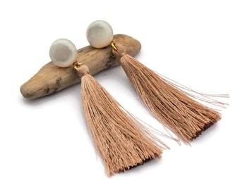 Tassel earrings, Clip on earrings, Neutral color earrings, Long tassel earrings, Boho earrings, Fringe earrings, Shell, Gift for her, UD5