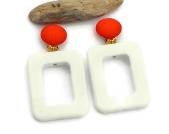 Geometric Statement Earrings, Clip on earrings, White earrings, Large earrings, Modern earrings, Rectangle earrings, Statement earrings, UD8