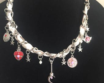 Sailor Moon Charm Ribbon Chain Necklace