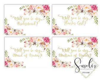 Will You Be My Bridesmaid Printable set, DIY Wedding cards, Bridal Proposal, Gold text Watercolor flowers Peach Boho, DIGITAL FILES WS12