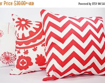 15% OFF SALE Coral Pillow Covers - Three Coral Decorative Throw Pillows Coral and White - Dorm Decor - Throw Pillow Couch Pillow Accent Pill