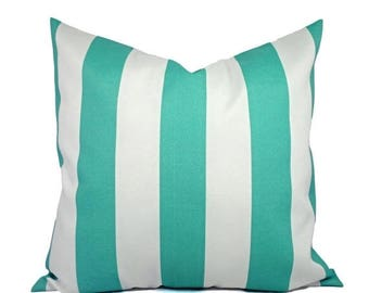 15% OFF SALE Two Indoor Outdoor Pillow Covers - Striped Pillow Covers - Aqua Pillow - Teal Pillow Covers - Patio Pillow - Accent Pillow
