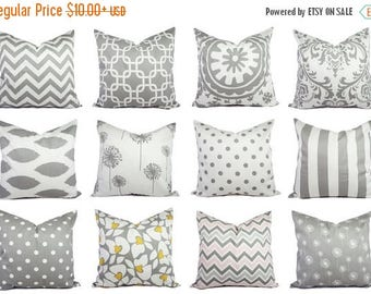 15% OFF SALE Grey Pillow Covers Grey and White - Custom Grey Pillow Covers - Throw Pillow Cushion Cover Accent Pillow - Grey Throw Pillows