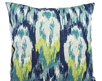 15% OFF SALE Pillow Covers - Two Blue and Green Ikat Covers - Green Blue Pillow - Blue Ikat Pillow - Green Ikat Pillow - Ikat Pillow Covers