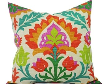 15% OFF SALE Two Orange Outdoor Pillow Covers - Orange Pillows - Orange Patio Pillows - Outdoor Pillows - Patio Decor - Floral Pillows - Sun