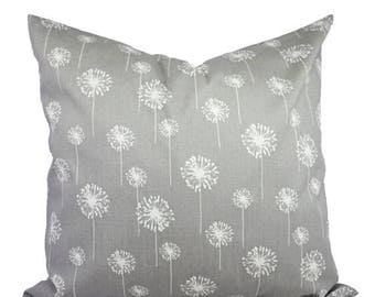 15% OFF SALE Two Grey Dandelion Pillows - Decorative Throw Pillow Covers - Grey Pillow Cover - Grey Pillows - Couch Pillow - Pillow Sham