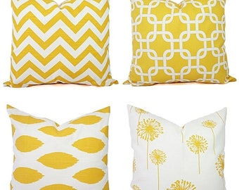 Yellow Throw Pillow Covers - Yellow and White Decorative Pillows - Throw Pillow Cushion Cover - Yellow Accent Pillow - Yellow Pillows