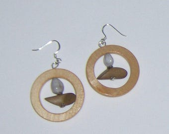 G Handmade Natural Wood Earrings, Handcut Wooden Dangle Earrings with Dowl and Seed Centers, French Hooks