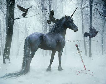 Black Gothic Unicorn with crows Equine art print