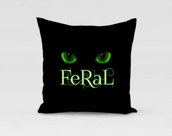 black cat with green eyes pillow cushion cover