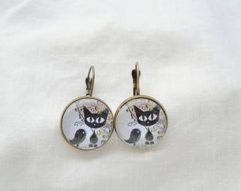 Earings cats and birds