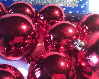 50s vintage swedish Christmas ornaments glass baubles lof of 10 red baubles handmade hand painted retro tree ornaments Scandinavian