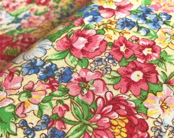 70s scandinavian vintage fabric. Mod floral print. Retro fabric Cotton mid century modern Made in Sweden flower power