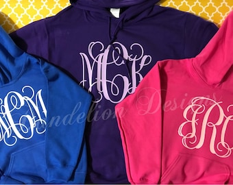 Monogram Sweatshirt Youth Girl's Girl Hooded Hoodie Glitter Vine Monogram Teen Personalized Teenager Gift hoody sweater