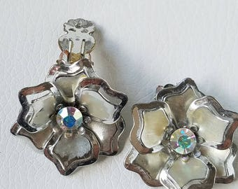 Vintage Art Nouveau Clip On's, Flower Shaped Clip On's, Aurora Borealis Center, Silver Tone Flower Clip On's, Costume Jewelry