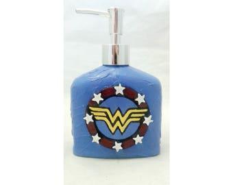 Wonder Woman Soap Dispenser, polymer clay soap pump