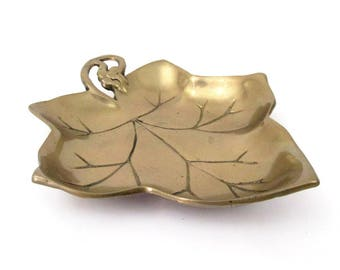 Vintage Solid Brass Leaf Trinket Tray