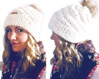 PATTERN: Denver Flurry Hat Knitting Pattern, Double Brim Spiral Winter Hat with Pompom Knit Pattern, Easy Knitting Pattern, Beginner Knitter