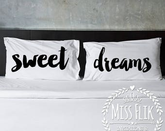 Pillowcase set couple gift 2 pillowcases for couples his and hers wedding gift engagement bride and groom bedroom decor housewarming present