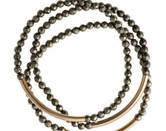 SUMMER SALE Threes Pyrite Bracelet