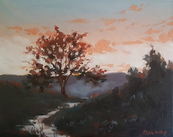Dawn Sky with Pink Clouds- Meadow with a Stream- Original Landscape Oil Painting- Natural Impressionist Art- Trees in Early Morning Light