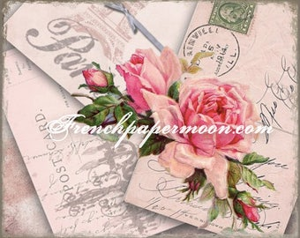 Shabby French RosePostcard Collage, Large Image, French Pillow Graphic Transfer, digital Download