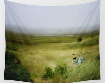 Wall Tapestry, Summer Marshes Scene, Cape Cod, Blue Vintage Bike in Sea Grass