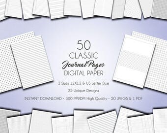 "Digital Paper ""Classic Journal Pages"" digital journal pages, lined, grids, graphs, dots, diary pages, notebook, digital journal paper"