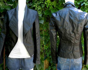 Black Faux Leather & Spandex 80's Crop Jacket, Woman's Black Vinyl Jacket, Tuxedo Style Short Blazer, Size XS/S Jacket